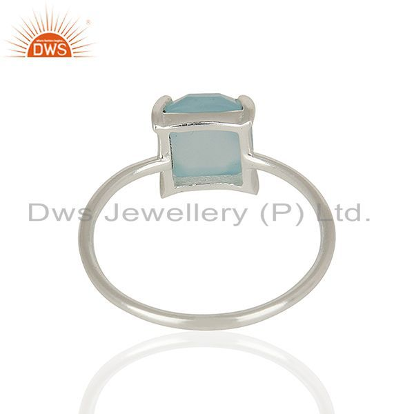 Suppliers Aqua Chalcedony Stackable 925 Sterling Silver Ring Jewelry