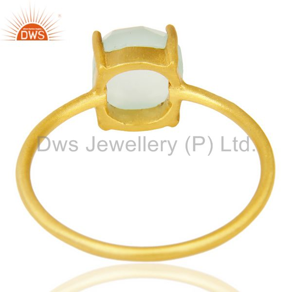 Suppliers Aqua chalcedony Cushion Cut 14K Gold Plated Ring-March Brithstone