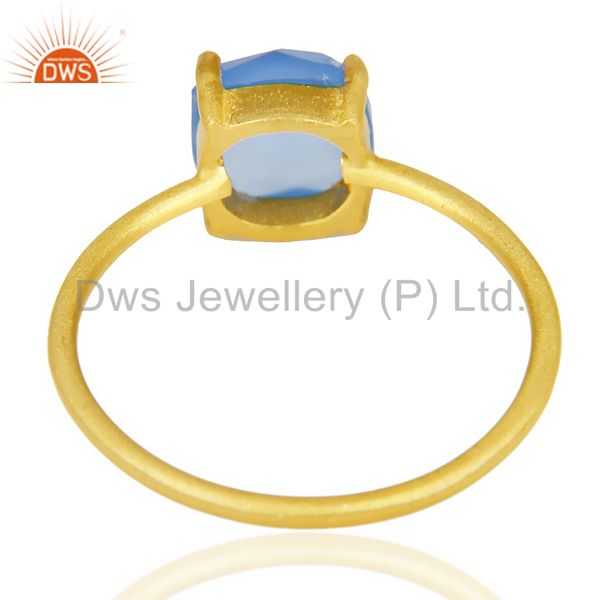 Suppliers Blue Chalcedony Cushion Cut 14K Gold Plated Ring-December Brithstone