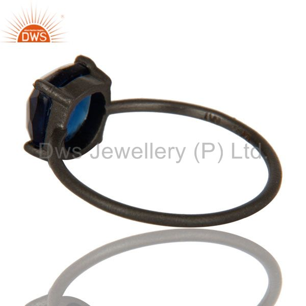 Suppliers Oxidized Sterling Silver Blue Corundum Prong Set Gemstone Stacking Ring