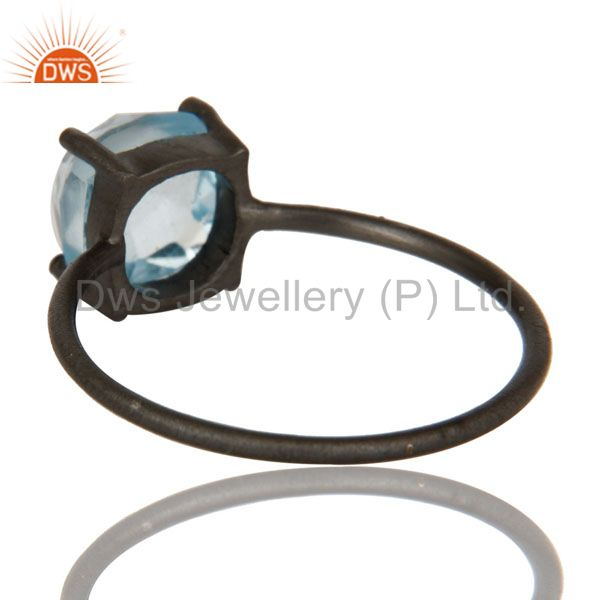 Suppliers Oxidized Sterling Silver Natural Blue Topaz Prong Set Gemstone Stackable Ring