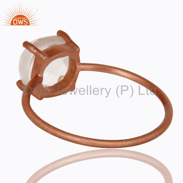 Suppliers 18K Rose Gold Plated Sterling Silver Crystal Quartz Prong Set Stacking Ring