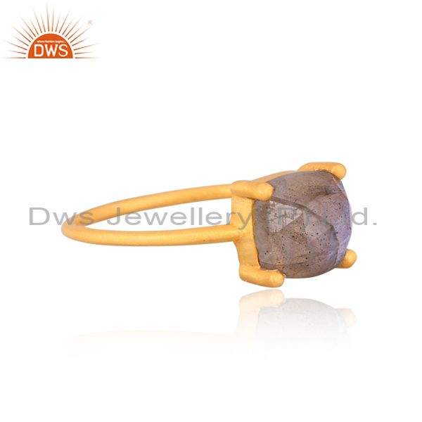 Suppliers Natural Labrodorite Cushion Cut 14K Gold Plated Ring In Solid Sterling Silver
