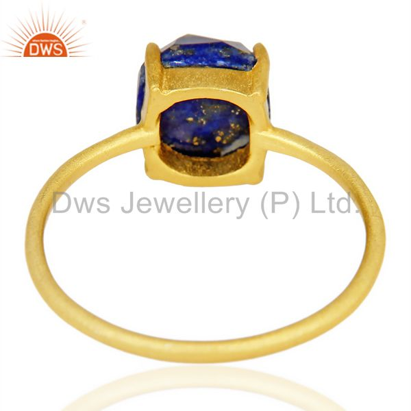 Suppliers Lapis Cushion Cut 14K Gold Plated Ring-December Brithstone