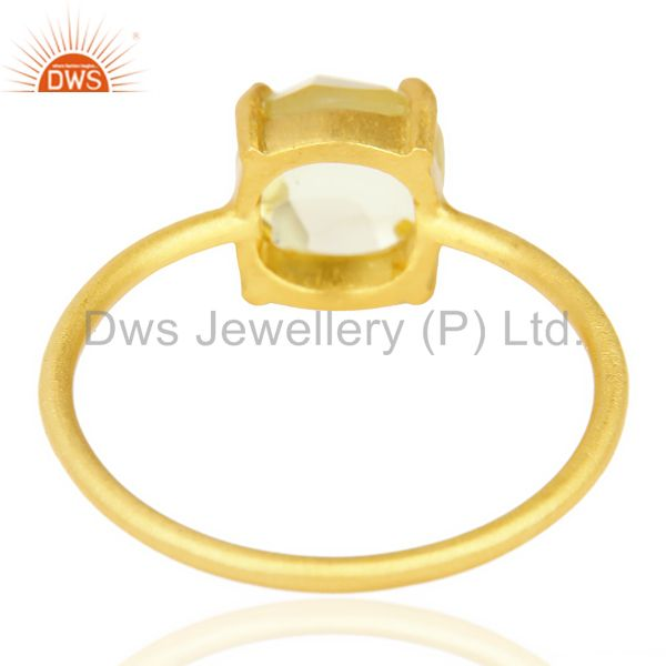 Suppliers Lemon Topaz Cushion Cut 14K Gold Plated Sleek Ring In Solid Sterling Silver
