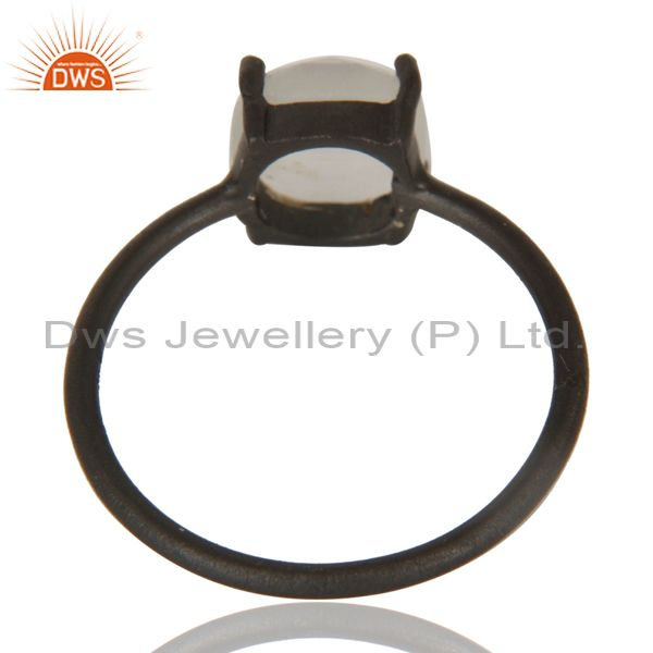 Suppliers Black Oxidized 925 Sterling Silver White Moonstone Prong Set Stacking Ring