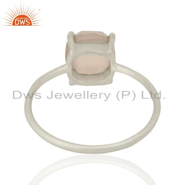 Suppliers Rose Chalcedony Cushion Cut Sleek Ring In Solid 925 Sterling Silver