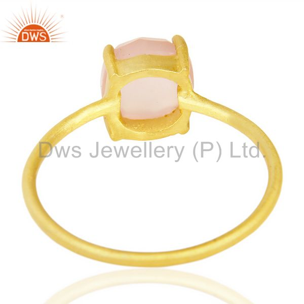 Suppliers Rose Chalcedony Cushion Cut 14K Gold Plated Sleek Ring In Solid Sterling Silver
