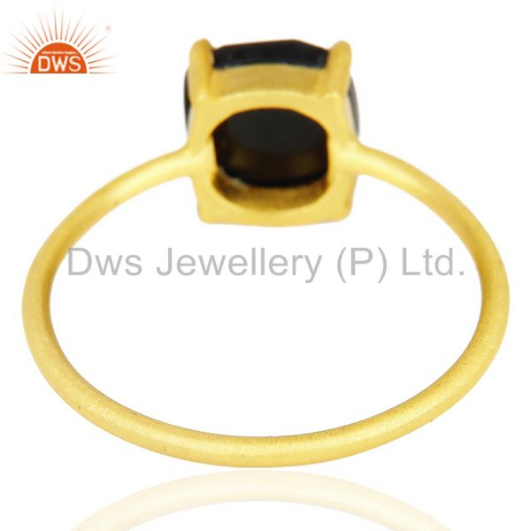 Suppliers Rose Cut Black Onyx Stackable 14K Yellow Gold Plated 925 Sterling Silver Ring