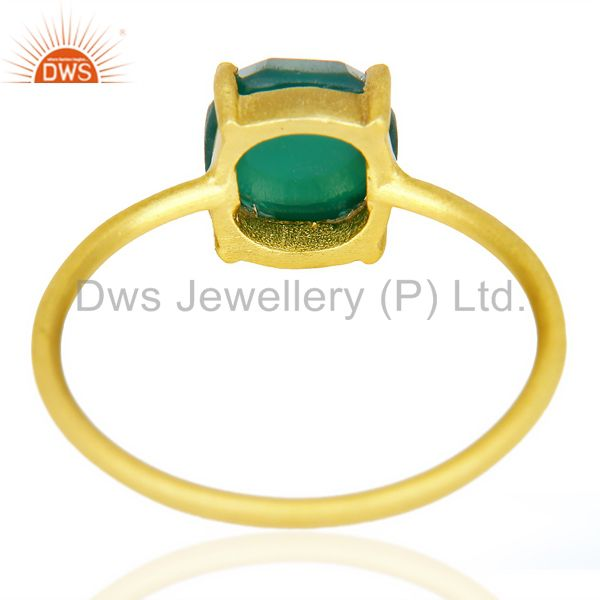 Suppliers Green Onyx Cushion Cut 14K Gold Plated Sleek Ring In Solid Sterling Silver