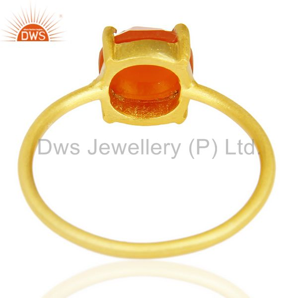 Suppliers Red Onyx Cushion Cut 14K Gold Plated Sleek Ring In Solid Sterling Silver