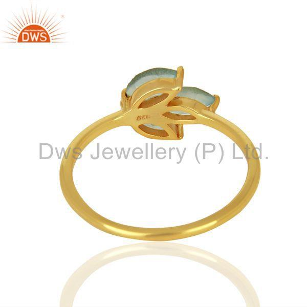 Suppliers Leaf Designer Gold Plated 925 Silver Aqua Chalcedony Gemstone Rings
