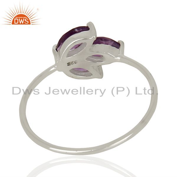 Suppliers Amethyst Prong Set 925 Sterling Silver Ring Gemstone Jewelry