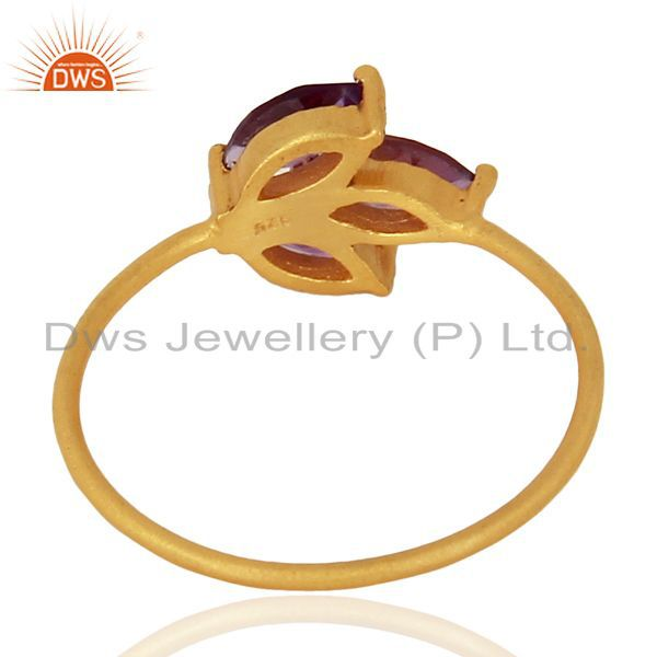 Suppliers Amethyst Prong Set 14K Gold Plated 925 Sterling Silver Ring Gemstone Jewelry