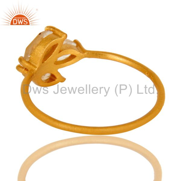 Suppliers 18K Yellow Gold Plated Sterling Silver Citrine Prong Set Gemstone Stackable Ring