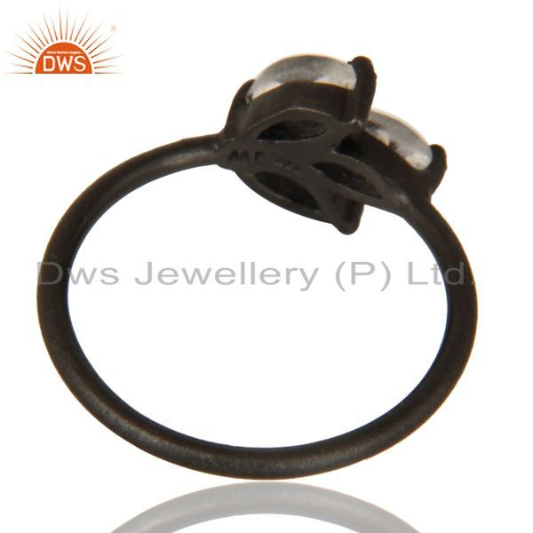 Suppliers Black Oxidized 925 Sterling Silver Citrine Prong Set Gemstone Stackable Ring