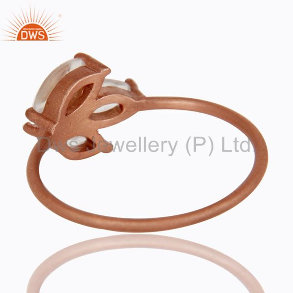 Suppliers 18K Rose Gold Plated Sterling Silver Crystal Quartz Prong Set Stackable Ring