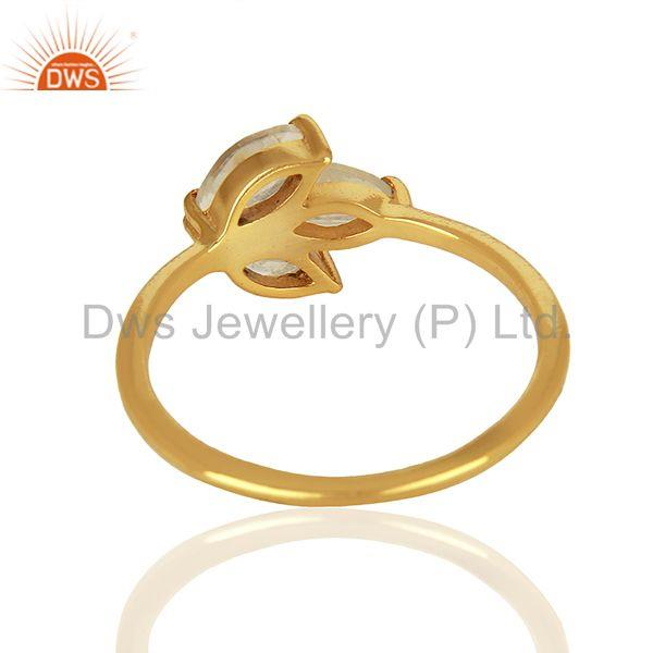 Suppliers Solid 925 Silver Gold Plated Moonstone Rainbow Gemstone Rings Jewelry