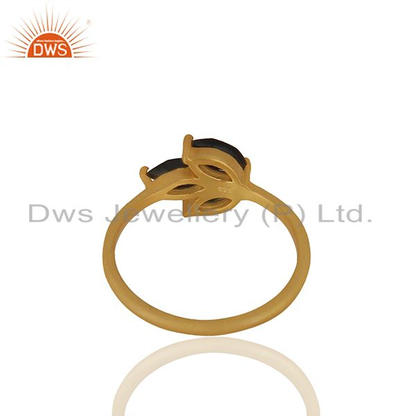 Suppliers Black Onyx Prong Set Gemstone 925 Silver Gold Plated Women Rings
