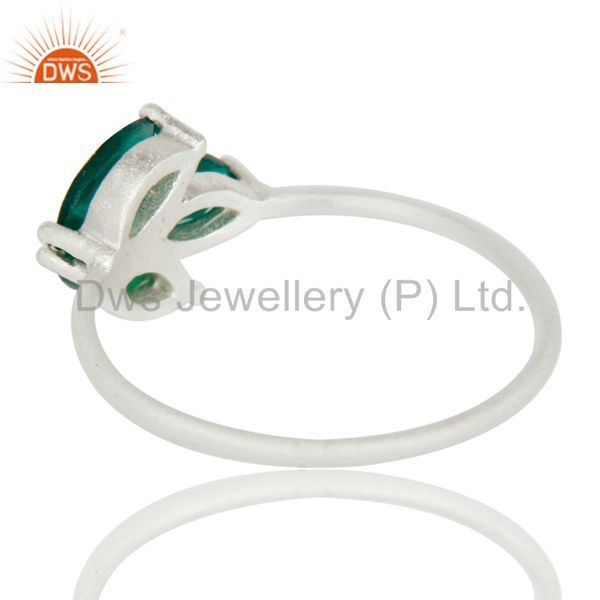 Suppliers 925 Sterling Silver Green Onyx Prong Set Gemstone Ring