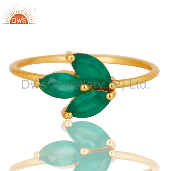 Suppliers Handmade Solid Sterling Silver Green Onyx Prong Set Stackable Ring