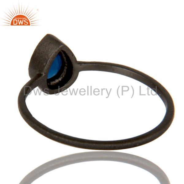 Suppliers Oxidized Sterling Silver Blue Corundum Gemstone Stacking Ring