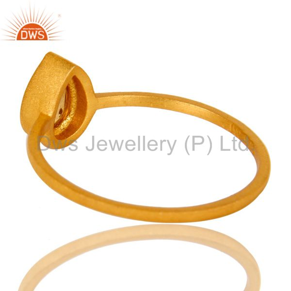 Suppliers 18K Yellow Gold Plated Sterling Silver Citrine Gemstone Stacking Ring