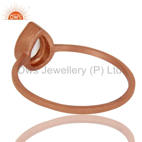 Suppliers 18K Rose Gold Plated Sterling Silver Crystal Quartz Gemstone Stackable Ring