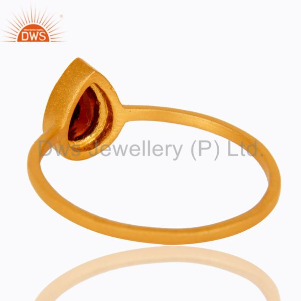Suppliers 18K Yellow Gold Plated Sterling Silver Garnet Gemstone Stacking Ring