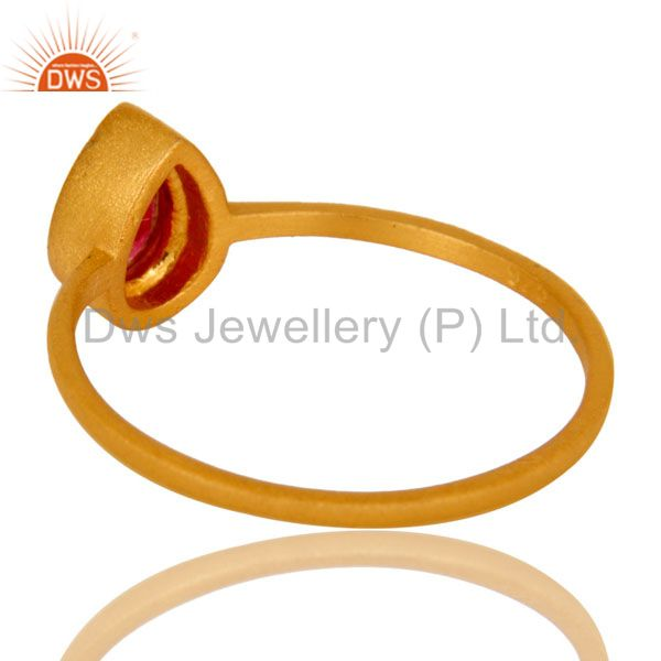 Suppliers 18K Yellow Gold Plated Sterling Silver Red Aventurine Gemstone Stacking Ring