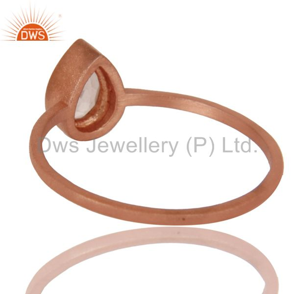 Suppliers 14K Rose Gold Plated Sterling Silver Rose Quartz Gemstone Stackable Ring