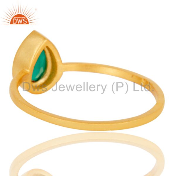 Suppliers 925 Sterling Silver With 18k Gold Plated Green Onyx Gemstone Stackable Ring