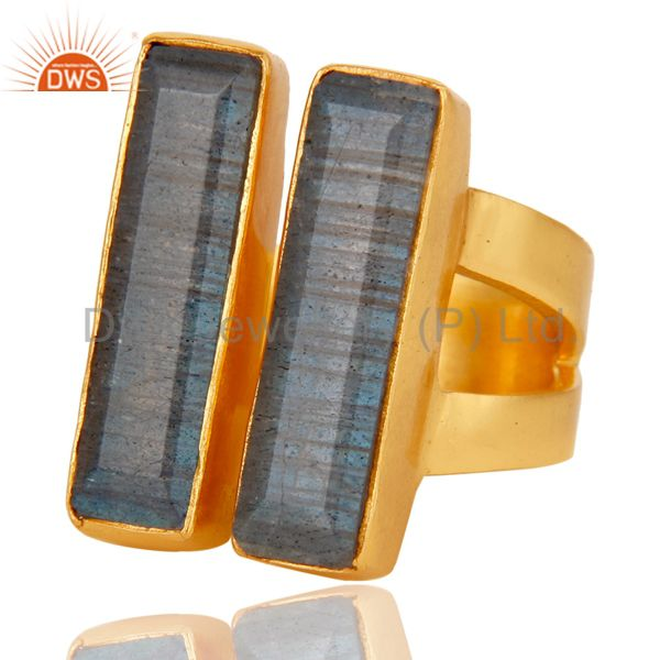 Suppliers 22K Yellow Gold Plated Labradorite Brass Statement Ring Fashion Jewelry