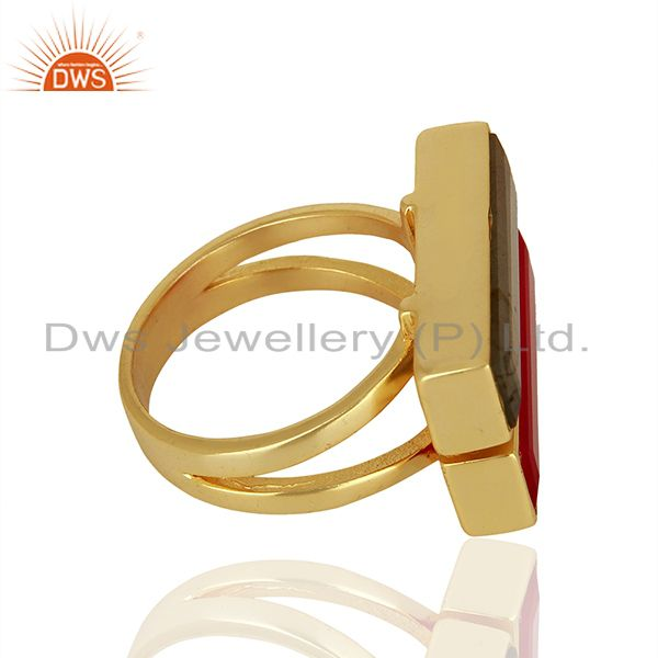 Suppliers Pink Chalcedony Labradorite Gemstone Gold Plated Brass Ring Supplier