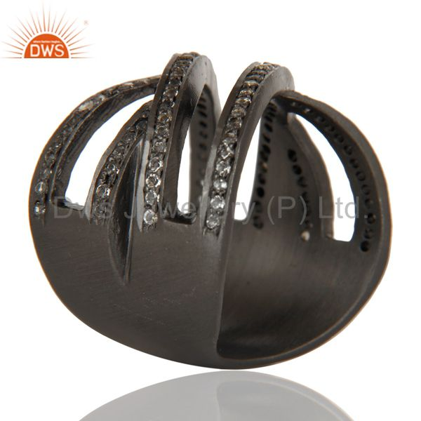 Suppliers Black Oxidized Handmade Full Fil Statement Ring with White Topaz