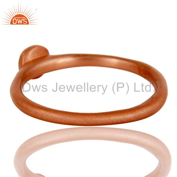 Suppliers 18k Rose Gold Plated Handmade Little Sterling Silver White Zirconia Ring