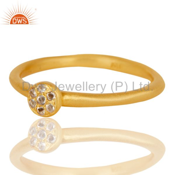 Suppliers Handmade Simple Setting 18k Gold Plated Sterling Silver Ring with White Topaz