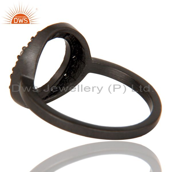 Suppliers Handmade Black Oxidized Sterling Silver Round Design Ring with White Topaz