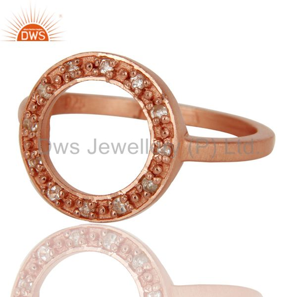 Suppliers Handmade 18k Rose Gold Plated Sterling Silver Round Design Ring with White Topaz