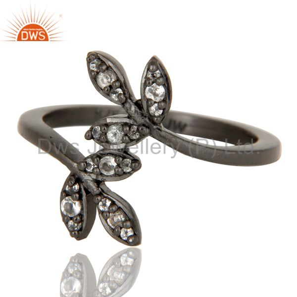 Suppliers Handmade Flower Design Black Oxidized Sterling Silver Ring with White Topaz