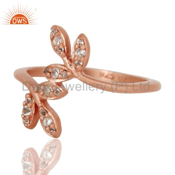 Suppliers Flower Design 18k Rose Gold Plated Sterling Silver Ring with White Topaz