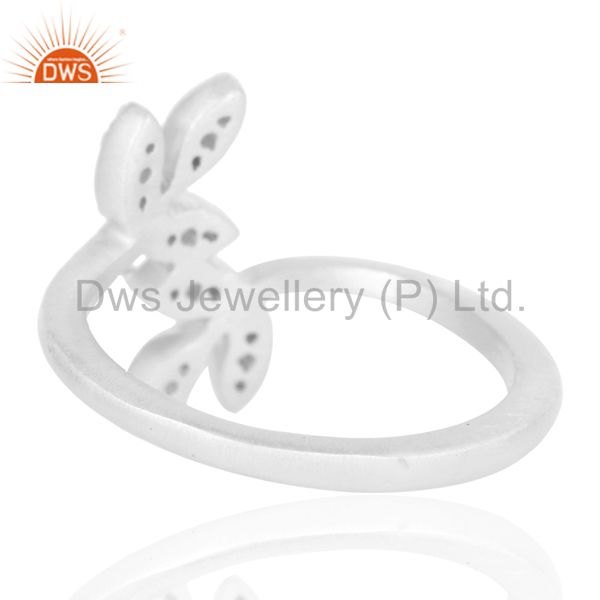 Suppliers Handmade Flower Design Solid 925 Sterling Silver Ring with White Topaz