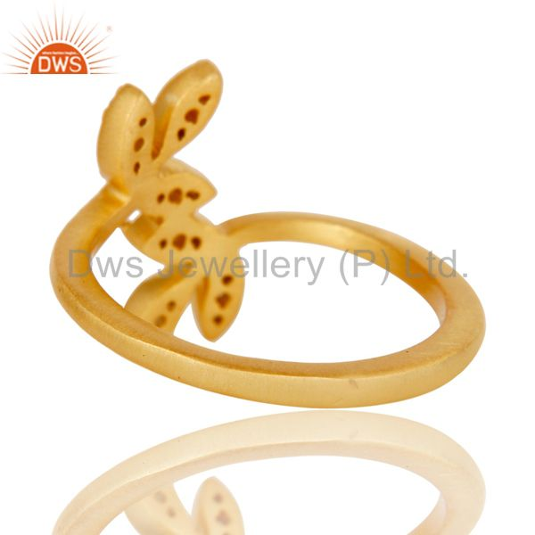 Suppliers Handmade Flower Design 18k Gold Plated Sterling Silver Ring with White Topaz