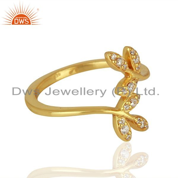 Suppliers Leaf Design Gold Plated 925 Silver CZ Engagement Ring Jewelry Supplier