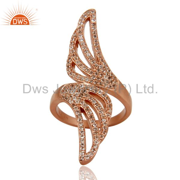 Suppliers 18k Rose Gold Plated Sterling Silver Handmade White Topaz Knuckle Design Ring