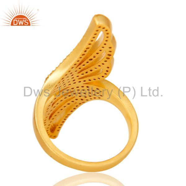 Suppliers 22K Gold Plated 925 Sterling Silver Handmade White Topaz Knuckle Design Ring