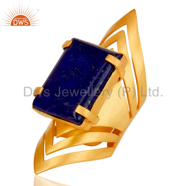 Suppliers 22K Yellow Gold Plated Handmade Fashion Natural Lapis Lazuli Brass Knuckle Ring