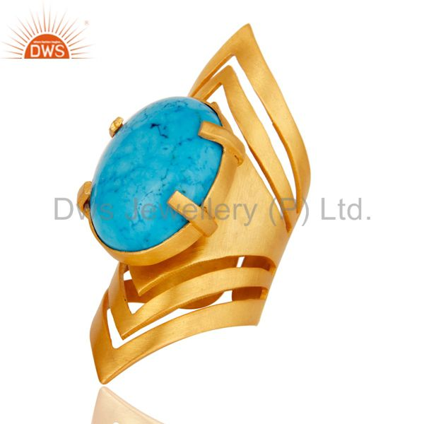 Suppliers 22K Yellow Gold Plated Handmade Fashion Natural Turquoise Brass Knuckle Ring