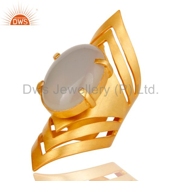 Suppliers 22K Yellow Gold Plated Handmade Fashion Natural Chalcedony Brass Knuckle Ring