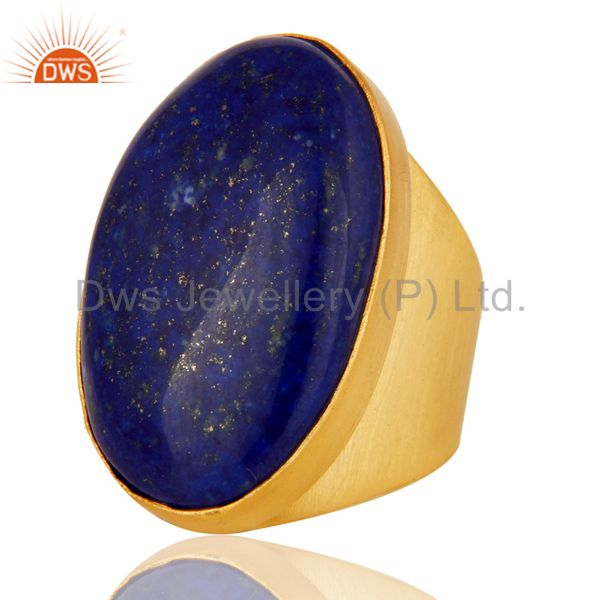 Suppliers 22K Yellow Gold Plated Handmade Wide Natural Lapis Lazuli Brass Dome Ring